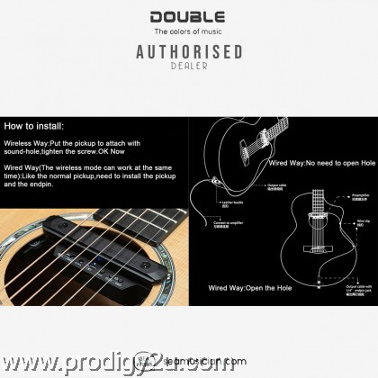 Double X2 Acoustic Guitar Pickup System Black