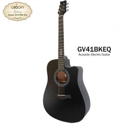 GROOVY GV-41BK-EQ FOLK ACOUSTIC GUITAR (BLACK)
